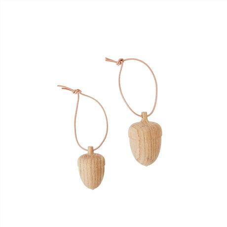 OYOY Decoratie Acorn natuur bruin hout set van 2 Ø5x8cm / Ø4x6,5cm