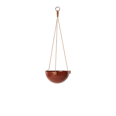 OYOY Hangpot Pif Paf Puf one roodbruin gepoedercoat staal Ø20x61cm