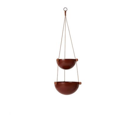 OYOY Hangpot Pif Paf Puf two roodbruin gepoedercoat staal Ø20 / Ø25x85cm