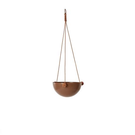 OYOY Hangpot Pif Paf Puf one bruin gepoedercoat staal Ø20x61cm