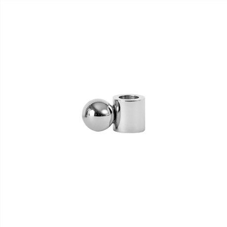 OYOY Kerzenhalter Palloa kleines silbernes Metall 2x3,9x2cm