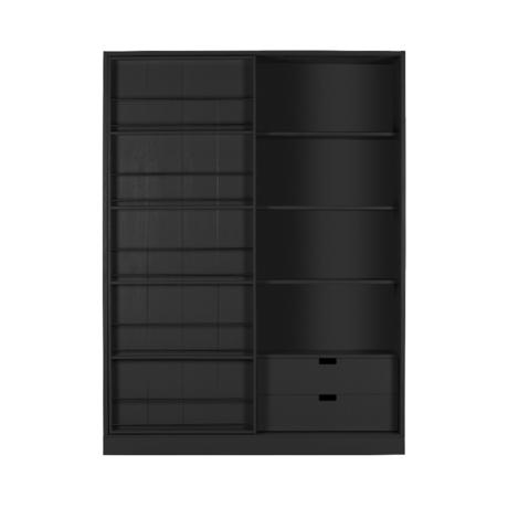 WOOOD Schuifdeurkast Swing mat zwart geschuurd grenen 200x150x46,5cm