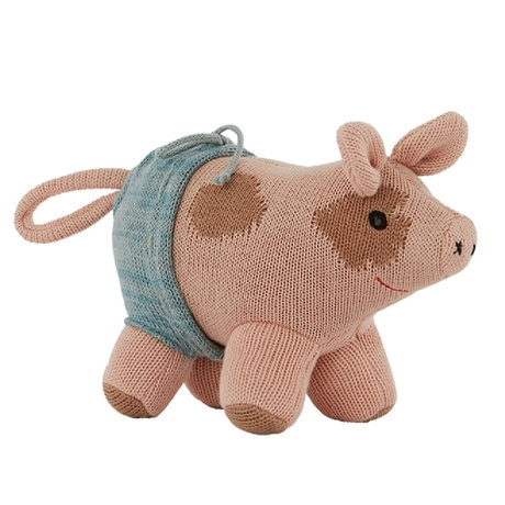 OYOY Knuffel Hugo Mini Pig roze katoen polyester 15x19x12cm