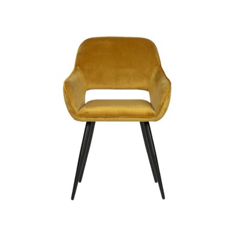 WOOOD Stoel Jelle geel fluweel set van 2 80x60x57cm