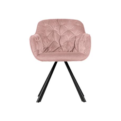 WOOOD Eetkamerstoel Elaine roze fluweel 80,5x59,5x59cm