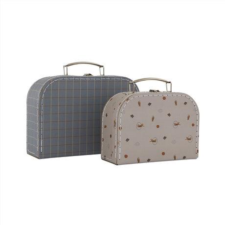 OYOY Mini koffer Tiger & Grid grijs blauw karton 8,5x22,5x18 cm / 7,5x20,5x14,5cm