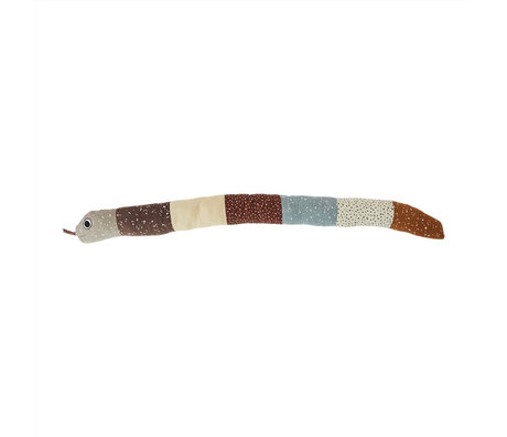 OYOY Knuffel kussen Snake multicolor katoen polyester ø17x160cm