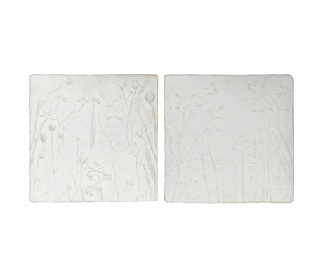 BePureHome Wanddecoratie Plaquette wit gips set van 2 60x45x45/46x34x34cm