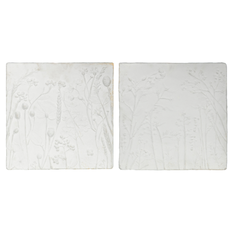 BePureHome Wanddecoratie Plaquette wit gips set van 2 36x36x3cm