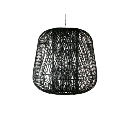 WOOOD Hanglamp Moza zwart bamboe 100x100cm
