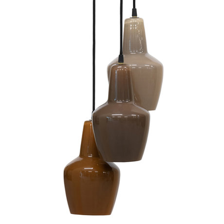 BePureHome Hanglampen Pottery multicolor 3 lampen glas 145x30x30cm