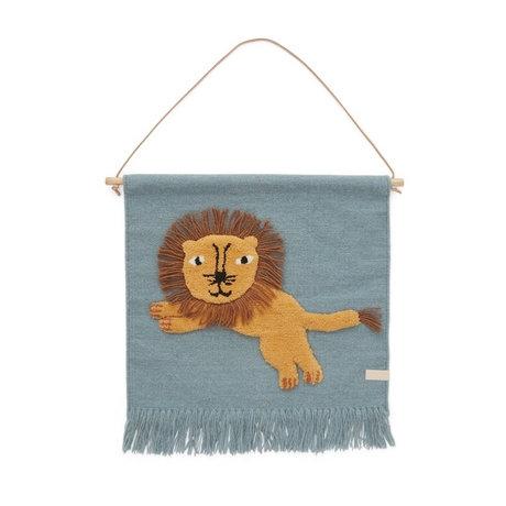 OYOY Wandkleed Jumping Lion wol katoen multicolor 55x52cm
