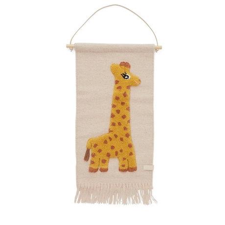 OYOY Wandbehang Giraffe mehrfarbige Wolle Baumwolle 70x32cm