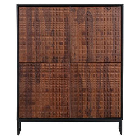 BePureHome Kast Nuts 4-deurs zwart walnoot hout 140x114x40cm
