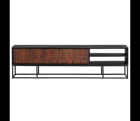 BePureHome Tv meubel Nuts zwart walnoot hout 46x175x43cm