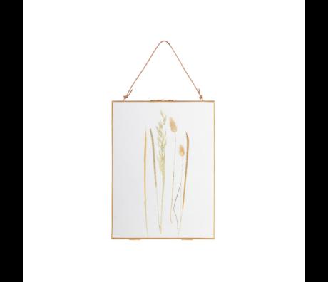 BePureHome Fotolijst Pressed met droogbloemen goud glas metaal 40x30cm