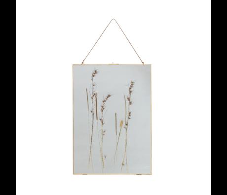 BePureHome Fotolijst Pressed met droogbloemen goud glas metaal 70x50cm