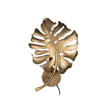 BePureHome Wandlamp Leaf antique goud metaal 45x31x11cm