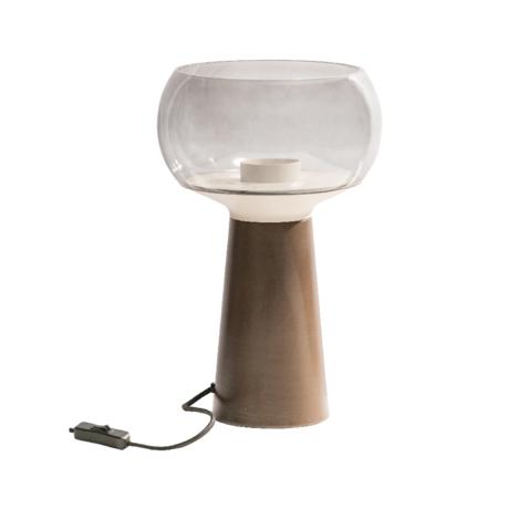 BePureHome Tafellamp Mushroom bruin metaal glas Ø24x37cm