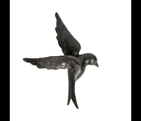 BePureHome Wanddecoratie Avaler vogel xl zwart hars 58x42x14