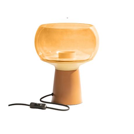 BePureHome Tafellamp Mushroom oranje metaal glas Ø24x28cm