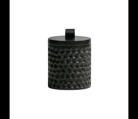 WOOOD Pot de rangement Holly bois noir Ø9x12cm