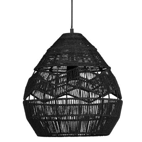 WOOOD Hanglamp Adelaide zwart metaal papier Ø35cm