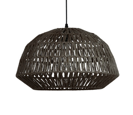 WOOOD Hanglamp Kace zwart jute Ø45cm