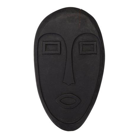 WOOOD Ornament masker Xavi zwart hout 39x23x3cm
