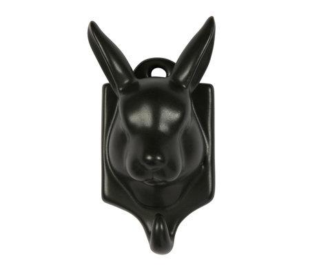 WOOOD Kapstokhaak Nona Haas zwart porselein 11x6x5cm