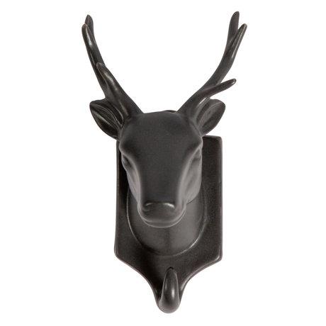 WOOOD Kapstokhaak Nona Hert zwart porselein 15x9x8cm
