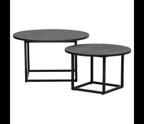 WOOOD Bijzettafels Enzo zwart hout metaal set van 2 40x74x74/35x60x60cm