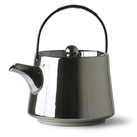 HK-living Teapot bold & basic ceramics silver 16x13x11cm
