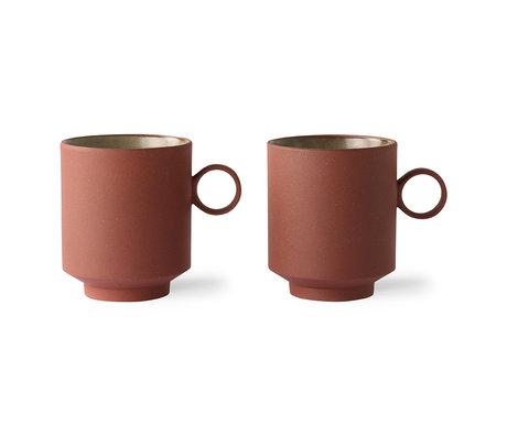 HK-living Coffee mug set of 2 bold & basic ceramics terra 10.5x7.7x9cm
