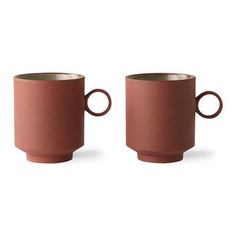 HK-living Koffie mok set van 2 bold & basic ceramics terra 10,5x7,7x9cm