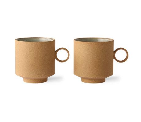 HK-living Koffie mok set van 2 bold & basic ceramics ochre 11,1x8,2x8,7cm