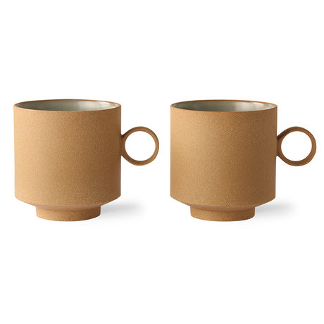 HK-living Coffee mug set of 2 bold & basic ceramics ocher 11.1x8.2x8.7cm