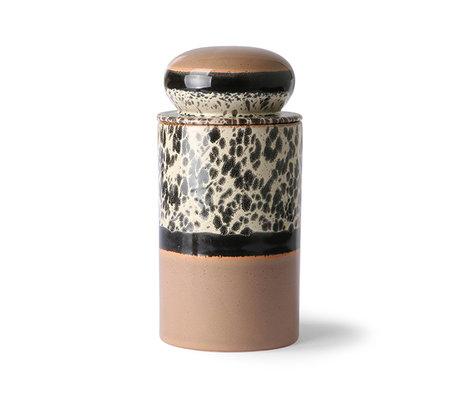 HK-living Pot de rangement 70's tropical multicolore 11x11x22.5cm
