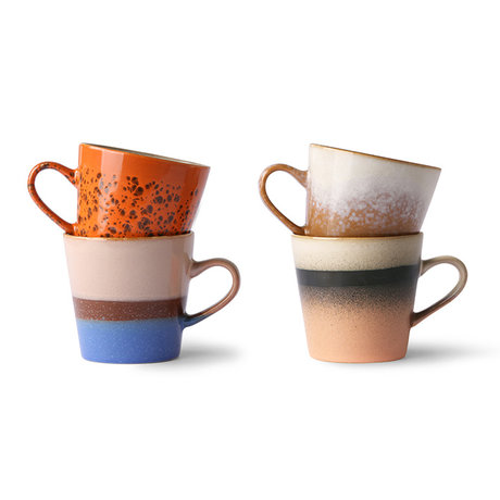 HK-living Koffiemok 70's Americano multicolour keramiek set van 4