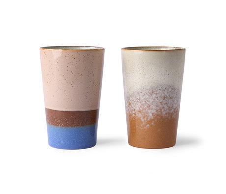 HK-living Teebecher 70er Jahre mehrfarbige Keramik 8,7x8,7x13,5cm 2er-Set