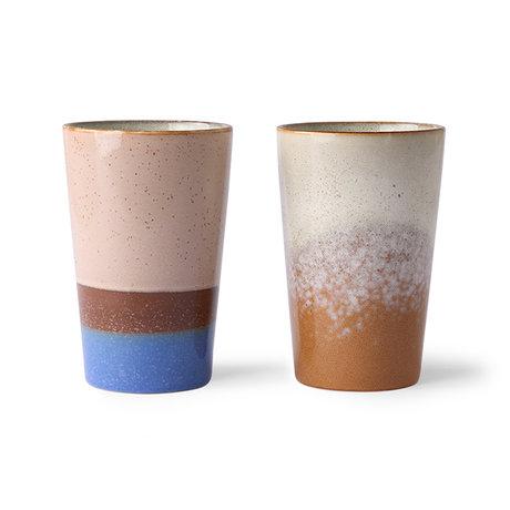 HK-living Tasse à thé 70's céramique multicolore 8.7x8.7x13.5cm lot de 2