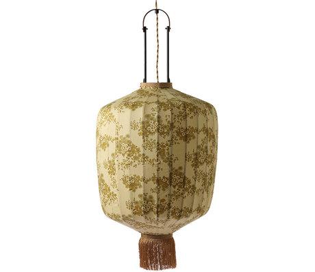 HK-living Laterne L Doris für Hkliving Vintage Print Baumwolle 42x42x52 / 92cm
