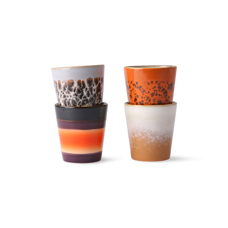 HK-living Koffiemok 70's Ristretto multicolour keramiek 5,8x5,8x6,2cm set van 4