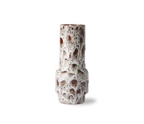 HK-living Vase retro lava white ceramic 8.5x8.5x20.5cm