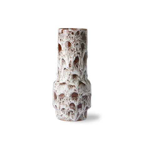 HK-living Vaas retro lava wit keramiek 8,5x8,5x20,5cm