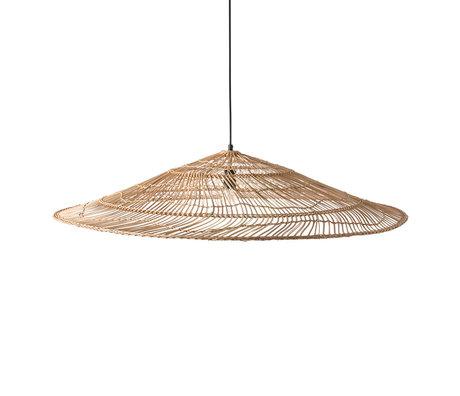 HK-living Hanging lamp wicker XL natural brown reed 102.5x102.5x19cm