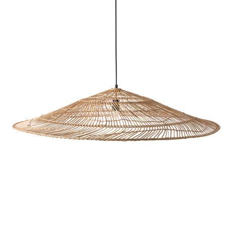 HK-living Hanglamp wicker XL naturel bruin riet 102,5x102,5x19cm