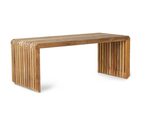 HK-living Bench Slatted teak wood 96x43x38cm