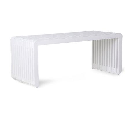 HK-living Bench Slatted white wood 96x43x38cm
