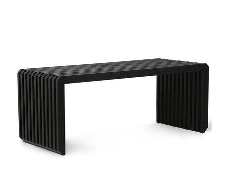 HK-living Bench Slatted black wood 96x43x38cm
